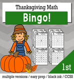 Thanksgiving Math 1st Grade BINGO Game Bundle