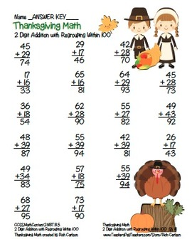"""Thanksgiving Math"" 2 Digit Addition Regrouping Common Core Fun! (color version)"