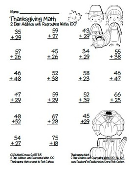 """Thanksgiving Math"" 2 Digit Addition Regrouping Common Core (black line version)"