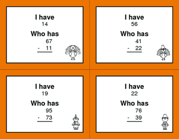 Thanksgiving Math: 2-Digit Subtraction - I Have, Who Has
