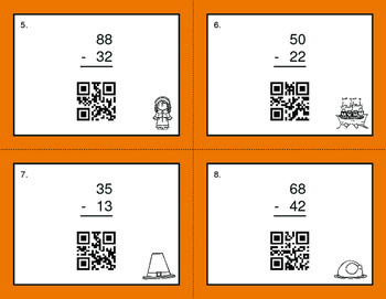Thanksgiving Math: 2-Digit Subtraction QR Code Task Cards