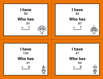 Thanksgiving Math: 2-Digit and 1-Digit Addition - I Have, Who Has