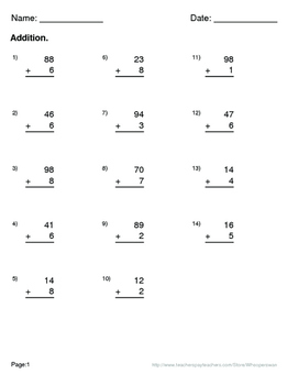 Thanksgiving Math: 2-Digit and 1-Digit Addition Maze