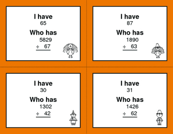 Thanksgiving Math: 2-Digit and 1-Digit Multiplication - I Have, Who Has