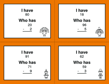 Thanksgiving Math: 2-Digit and 1-Digit Subtraction - I Have, Who Has
