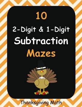 Thanksgiving Math: 2-Digit and 1-Digit Subtraction Maze