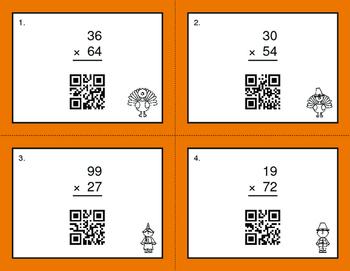 Thanksgiving Math: 2-Digit by 2-Digit Multiplication QR Code Task Cards