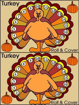 Thanksgiving Activities: Thanksgiving Turkey Roll & Cover Math Activity