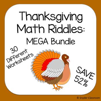 Thanksgiving Math Riddles: MEGA Bundle (Save 52%)