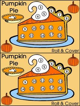 Thanksgiving Activities: Thanksgiving Pumpkin Pie Roll & Cover Math Activity