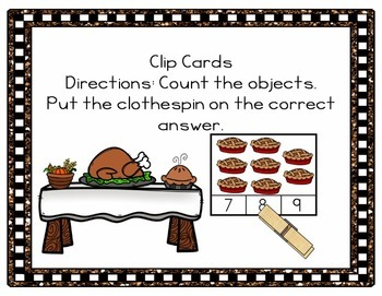 Thanksgiving Counting 1-20 Clip Cards