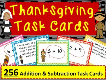 Thanksgiving Math: Addition & Subtraction Task Cards