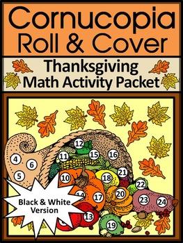 Thanksgiving Activities: Harvest Cornucopia Roll & Cover Math Activity - BW