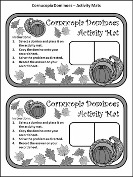 Thanksgiving Activities: Cornucopia Thanksgiving Dominoes Math Activity Packet