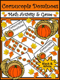 Thanksgiving Activities: Cornucopia Thanksgiving Dominoes Math Game Activity -BW