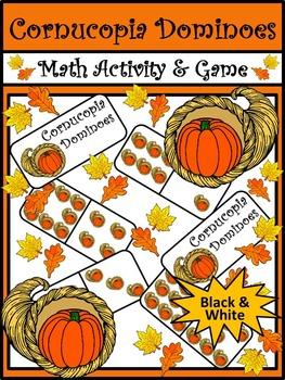 Thanksgiving Activities: Cornucopia Thanksgiving Dominoes Math Game Activity -BW