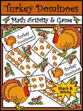 Thanksgiving Activities: Turkey Thanksgiving Dominoes Math Activity - BW Version
