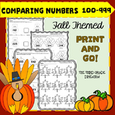Thanksgiving Math Comparing 3 Digit Numbers