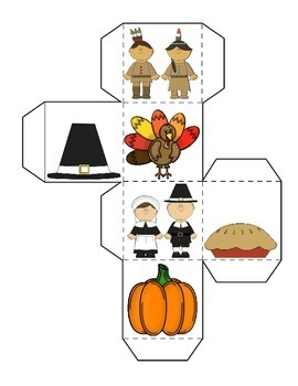 Thanksgiving Math Learning Cube Roll Graph and Count for Fall Activities