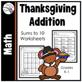 Thanksgiving Addition Worksheets Sums to 10