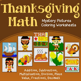 Thanksgiving Math Sheets Mystery Picture Activity, November Coloring Pages