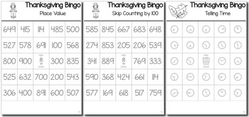 Thanksgiving Math 2nd Grade BINGO Game Bundle