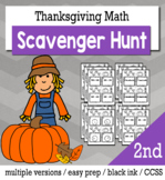 Thanksgiving Math 2nd Grade Scavenger Hunt Game Bundle