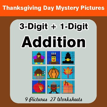 Thanksgiving Math: 3-Digit + 1-Digit Addition - Color-By-Number Math Mystery Pictures
