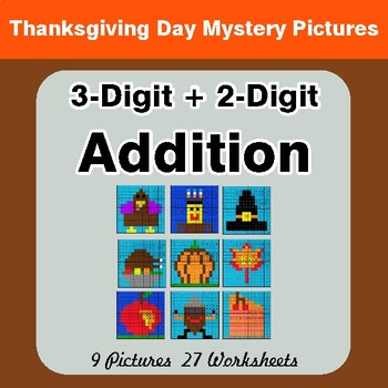 Thanksgiving Math: 3-Digit + 2-Digit Addition - Color-By-Number Math Mystery Pictures