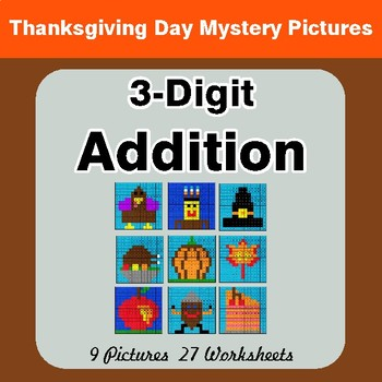 3-Digit Addition - Color-By-Number Thanksgiving Math Mystery Pictures