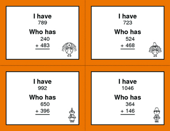 Thanksgiving Math: 3-Digit Addition - I Have, Who Has