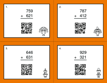 Thanksgiving Math: 3-Digit Addition QR Code Task Cards