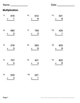 Thanksgiving Math: 3-Digit By 1-Digit Multiplication Maze
