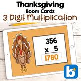 Thanksgiving Math - 3 Digit Multiplication Digital Task Cards - BOOM Cards