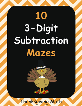 Thanksgiving Math: 3-Digit Subtraction Maze