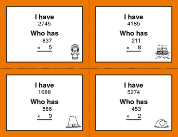 Thanksgiving Math: 3-Digit and 1-Digit Multiplication - I Have, Who Has