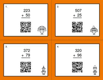 Thanksgiving Math: 3-Digit and 2-Digit Addition QR Code Task Cards
