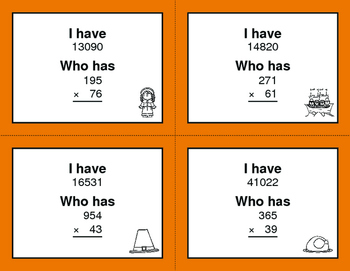 Thanksgiving Math: 3-Digit and 2-Digit Multiplication - I Have, Who Has