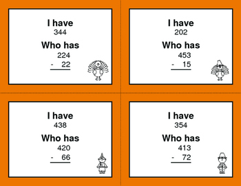 Thanksgiving Math: 3-Digit and 2-Digit Subtraction - I Have, Who Has