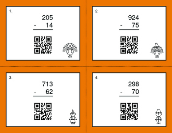 Thanksgiving Math: 3-Digit and 2-Digit Subtraction QR Code Task Cards