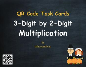 Thanksgiving Math: 3-Digit by 2-Digit Multiplication QR Code Task Cards