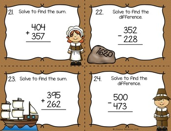 Thanksgiving Math 3-digit Addition and Subtraction Game