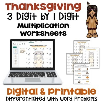 Thanksgiving Math - 3 digit by 1 digit Multiplication Work