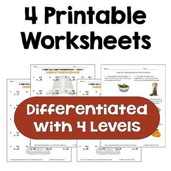 Thanksgiving Math - 3 digit by 2 digit Multiplication Worksheets (3 Levels)