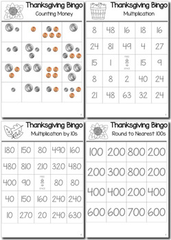 Thanksgiving Math 3rd Grade BINGO Game Bundle