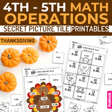 Thanksgiving Math 4th-5th Secret Picture Tile Printables