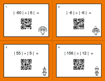 Thanksgiving Math: Absolute Value - Multiplication & Division QR Code Task Cards