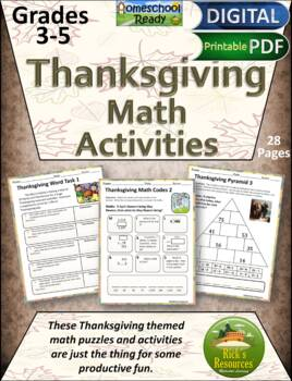 Thanksgiving Math Activities - Print and Digital Versions