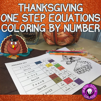 Thanksgiving Math One Step Equations Coloring Activity