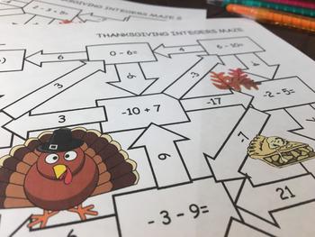Thanksgiving Integers Activity: Maze Games